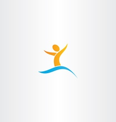 Man in water swim logo sign letter y vector
