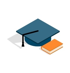 Student hat and book icon isometric 3d style vector image vector image