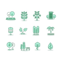 Trees set thin line icons on white vector image