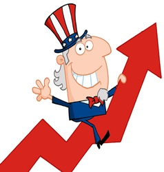 uncle sam riding a growth arrow vector image vector image