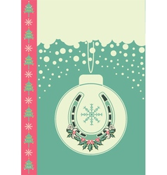 christmas card on snow background with ball and vector image vector image