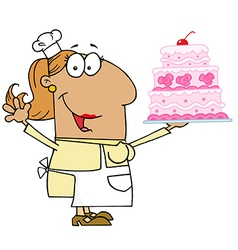 Hispanic Cartoon Cake Baker Woman vector image