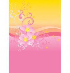 pink flowers on waved background vector image vector image