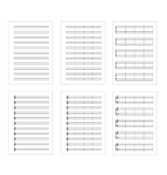 Set of six types music note staves a4 sheets vector image vector image