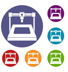 3d printer icons set vector