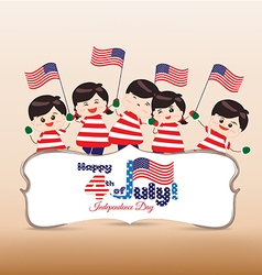 4th of july Independence day banner with kids vector