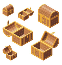 A set wooden chest with lids vector