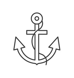 Anchor and rope outline icon on white background vector