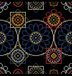 Background for handmade cross stitch decoupage vector