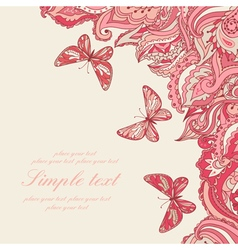 Background with paisley pattern and butterfly vector