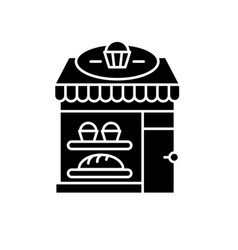 bakery black icon sign on isolated vector image