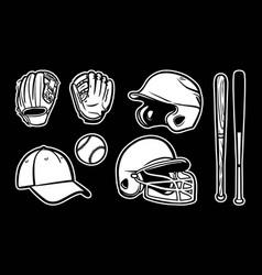 baseball equipment set clipart icon logo black vector image