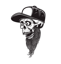 bearded skull in baseball cap in engraving style vector image