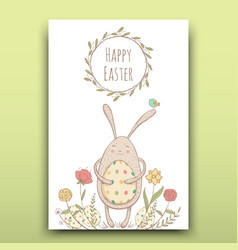 beautiful easter card with painted easter bunny on vector image