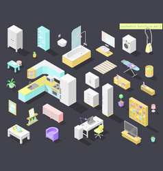 big set of low poly isometric furniture and vector image