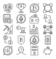 bitcoin icon set in thin line style vector image