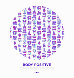 Body positive concept in circle with thin line vector