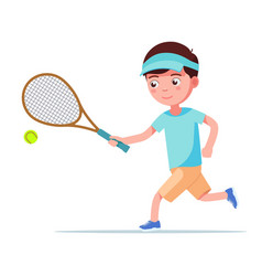 boy tennis player runs with a racket for ball vector image
