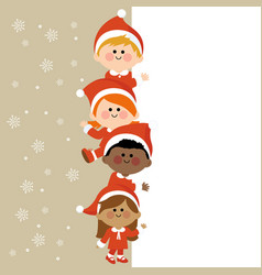 children in christmas costumes and a blank banner vector image