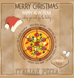 Christmas pizza menu vector