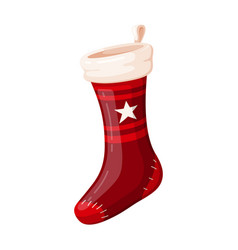 christmas red sock holiday design and traditional vector image