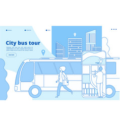 City bus tour urban bus excursion tourists vector