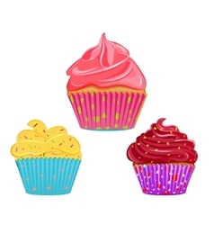 Collection of cupcakes muffins vector