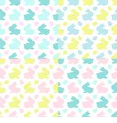 Colourful Bunnies silhouettes patterns vector