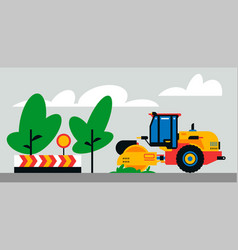 Construction machinery works at site vector