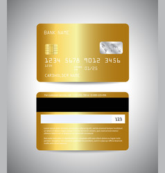 Credit cards set with gold background design vector