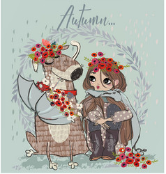 Cute autumn girl with dog vector