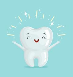Cute healthy shiny cartoon tooth character vector