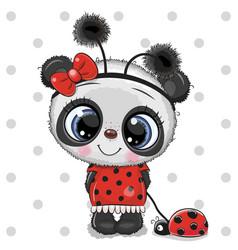 cute panda girl in a ladybug costume and ladybug vector image