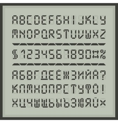 Digital display font alphabet letters and numbers vector