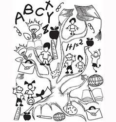 doodle school tree background vector image vector image