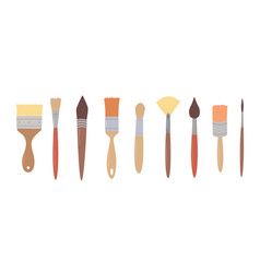 drawing tools set paint brushes in row on white vector image