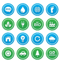 Eco green labels set - ecology recycling vector image