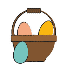 Eggs in basket easter related icon image vector