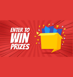 Enter to win prizes gift box cartoon origami style vector