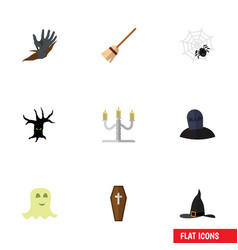 flat icon festival set of tomb spirit spinner vector image
