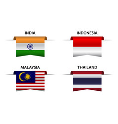 Four indian indonesian malaysian and thai flags vector