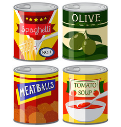four types of canned food in set vector image