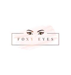 foxy eyes logo rose gold eyes logo on white vector image