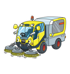 Funny small sweeper municipal car with eyes vector
