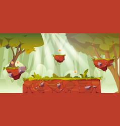 Game platform cartoon forest landscape 2d design vector