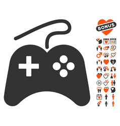 Gamepad icon with lovely bonus vector
