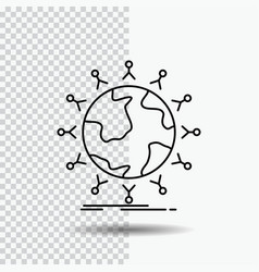 Global student network globe kids line icon on vector