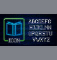 Glowing neon open book icon isolated on brick wall vector