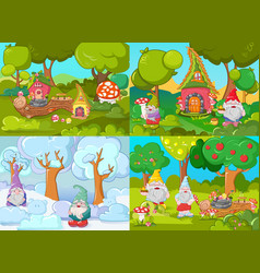 gnome garden banner concept set cartoon style vector image