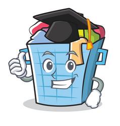 Graduation laundry basket character cartoon vector